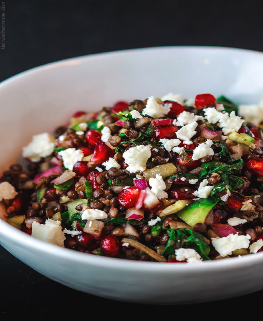 Brown Lentil, Swiss Chard and Pomegranate Salad with Ginger-Mint Vinaigrette