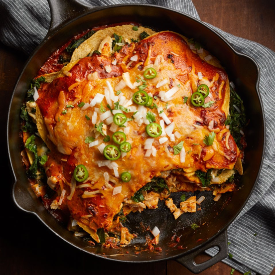 Adobo Chicken and Kale Enchiladas